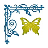 Sizzix Corner Flourish and Butterfly by Rachael Bright Thinlits Die Set, Pack of 2, Multi-Color