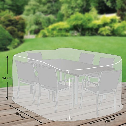 Klassik Schutzhülle für Sitzgruppe rechteckig aus PE-Bändchengewebe – transparent – von 'mehr Garten' – Größe L (235 x 135 cm) kaufen