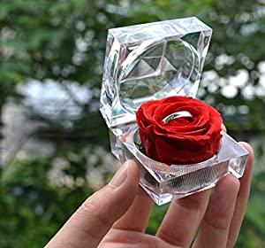 DeFancy Handmade Preserved Rose with Acrylic Crystal Ring Box for Proposal Engagement Sky Blue