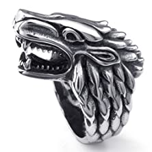 buy Silver Tone Animal Wolf Head 316L Stainless Steel Men'S Ring Size Us7 15 -- Aooaz Jewelry