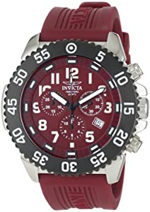 """Invicta Men's 1105 """"Pro Diver"""" Stainless Steel Watch with Red Rubber Band"""