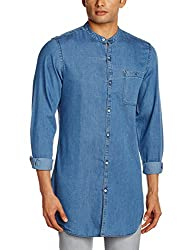Adamo London Men's Casual Shirt (SHTADSP16015_Large_Light Blue)