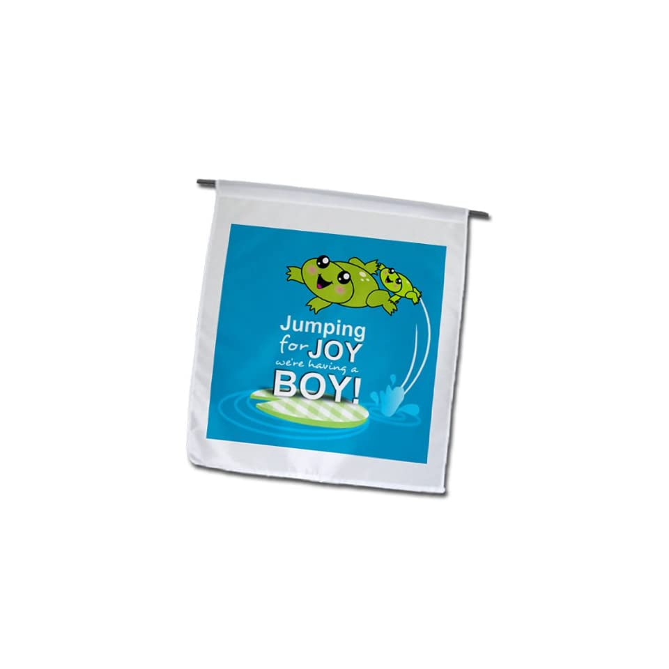 fl_120313_1 InspirationzStore Occasions   Jumping for joy having a boy   cute green frog blue baby shower its a boy kawaii frogs announcement   Flags   12 x 18 inch Garden Flag  Outdoor Flags  Patio, Lawn & Garden
