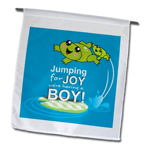 Inspirationzstore Occasions - Jumping For Joy Having A Boy - Cute Green Frog Blue Baby Shower Its A Boy Kawaii Frogs Announcement - Flags - 12 X 18 Inch Garden Flag