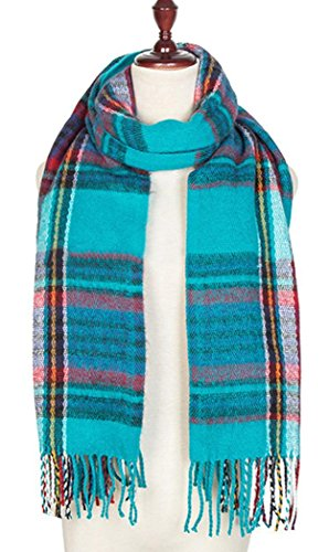 Veenajo Women's Fashion Long Shawl Plaid Grid Winter Warm Lattice Large Scarf