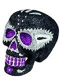 Decoración calavera negra brillante 16x13 cm Día de los Muertos - Única