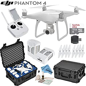 DJI Phantom 4 Quadcopter w/ eDigitalUSA Bundle: Includes 2 Intelligent Flight Batteries, SanDisk 32GB MicroSD Card, Go Professional Wheeled Carrying Case and more...