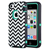 iPhone 5C Case,by ULAK,Soft TPU Skin and Hard Inner Shell Solid PC Back,Anti Scratch,Dust Plug,Hybrid Dual Layer Cover,for iPhone 5C [Wave+Green PC]
