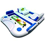 Inflatable 6-Person Pool Raft Floating Island w/ 2 Built-in Coolers