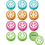 "Amscan Hippie Chick Birthday Party Round Sharpeners Favor (12 Pack), 1 1/2"" x 1 1/2"" x 3/4"", Multicolor"