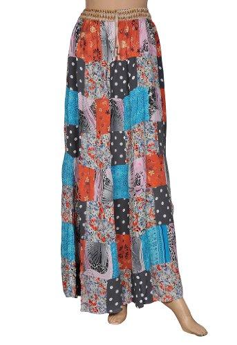 Boho Gypsy Belly Dance Women Patch Work Crape Long Indian Skirt