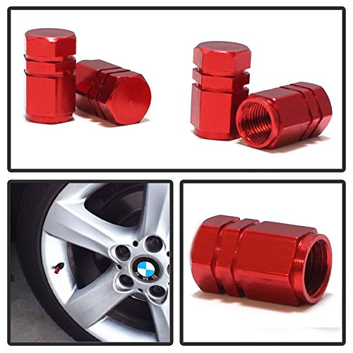 iJDMTOY (4) Tuner Racing Style Red Aluminum Tire Valve Caps (Hexagon Shape) (Nissan Altima Accessories Red compare prices)