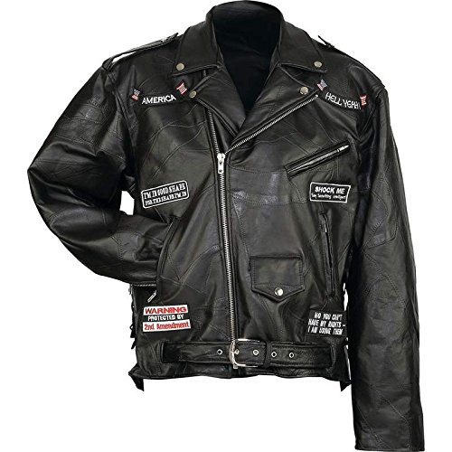 Incomparable Jackets Standout Motorcycle Hell Yeah Jacket 14 Patches-3X Exclusive