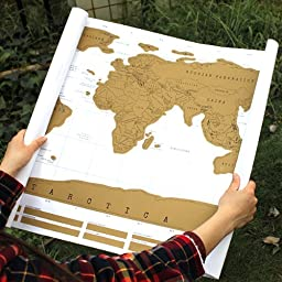 AGPtEK® 88.1 x 52cm Scratch Off  World  Map Poster Perfect for Personalized Travel Vacation Personal Log Gift