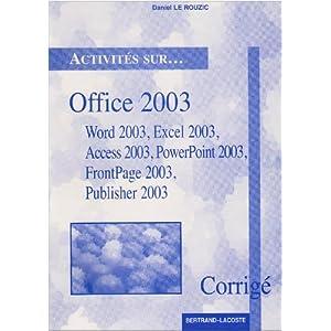 corrige activites sur office xp Daniel Le Rouzic