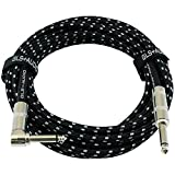 GLS Audio 20 Foot Guitar Instrument Cable - Right Angle 1/4-Inch TS to Straight 1/4-Inch TS 20 FT Black Gray Tweed Cloth Jacket - 20 Feet Pro Cord 20' Phono 6.3mm - SINGLE