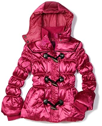 Velvet Chic Girls 7-16 Toggle Hooded Coat, Berry, 7/8