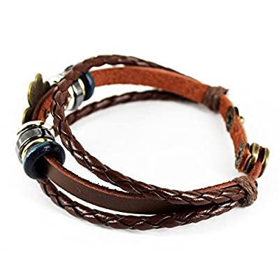 November's Chopin Unique Metal Button Ring Braided Leather Adjustable Wrap Bracelet