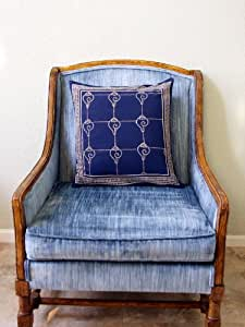 Pacific Blue Throw Pillows : Amazon.com: Pacific Blue (c) ~ Rustic Navy Blue Ocean Oriental Throw Pillow 18x18: Home & Kitchen