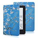 All-New Kindle 8th Generation 2016 Case, CINDICK Ultra Lightweight Magnetic PU Leather + PC Plastic Autowake Function Leather Smart Shell Cover Case for All-New Kindle 2016 (Classical Plum Blossom)
