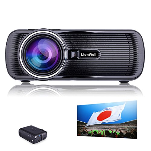 LionWell ミニ LED プロジェクター 映写機 1080P 800*480解像度 日本語取説 パソコン・スマホ・タブレット・USB・SDカード入力可能 無料HDMIケーブル ホームシアター・シネマ 『重要:LionWell正規商品の販売はLionWell出品者のみ』