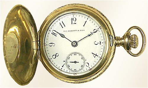 HC Abbot 14K Solid Gold Sidewinder Hunting Case Pocket Watch - 1920's