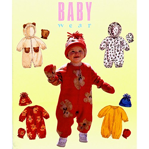 Mccall'S #9084 Baby Jumpsuit Hood Mittens Hat Sewing Pattern Size S-Xl (13-24 Pounds) front-889343