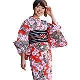 浴衣 セット レディース 高級変わり織り浴衣3点セット「赤地 黒絞り桜柄」綿麻混 浴衣 帯 下駄