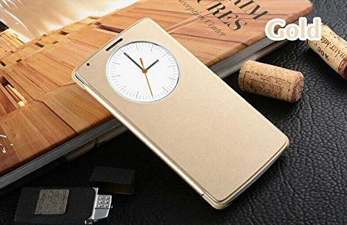 Delite i-Bling Circle Window View Flip Cover Golden for Coolpad note 3 with + free usb cable