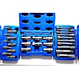J&R Quality Tools 28pc Hex & XZN 12 Point MM Triple Square Spline Bit Socket Set Tamper Proof Bit