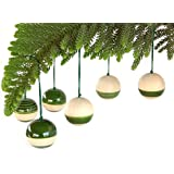 Maya Organic Handcrafted Wooden Christmas Décor : BAUBLES - Green (set Of Six)