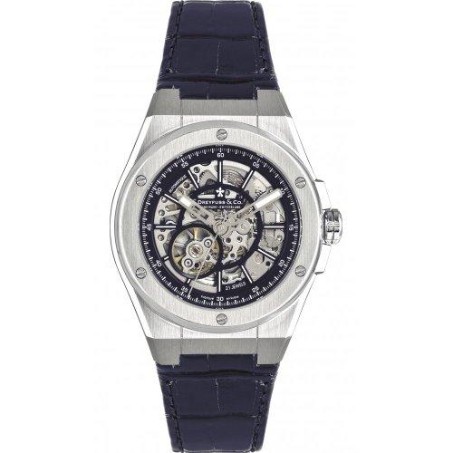 Dreyfuss & Co Men's Automatic Skeleton Dial Leather Strap Watch - DGS00079/05