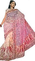 Monash Creations Pink Brasso Chanderi Half and Half Embroidery Saree