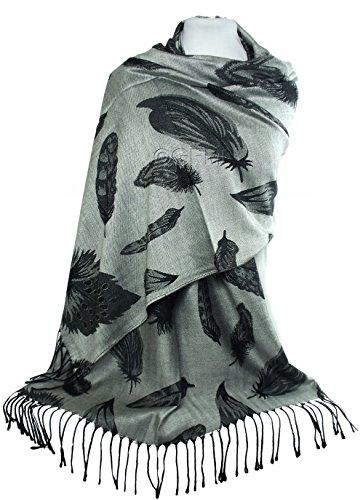 GFM -  Pashmina  - Donna .Feathers - Silver & Black (28CH) Large