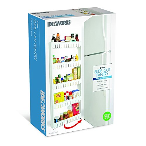 Slim Slide-Out 5-Tier Storage Tower - Ideal in Your Kitchen, Bath and Laundry Rooms! (Pull Out Pantry Cabinet compare prices)