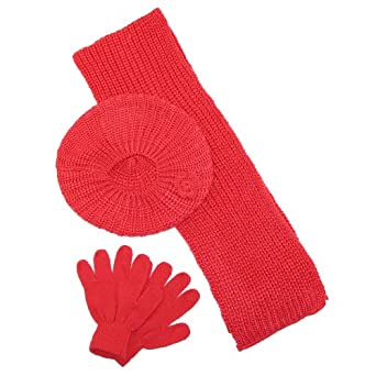 CTM® Girls Rosettes Beret Scarf and Gloves Winter Set, Coral