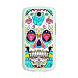 Designer Sugar Skulls Diamond eyes trend Fashion SAMSUNG GALAXY S3 I9300 Case Back Cover-White Frame