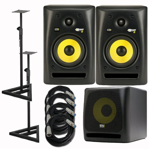 Krk Rp8G2 Rp8 G2 Rokit Powered 8 Inch 2-Way Studio Monitors With Stands And Cables