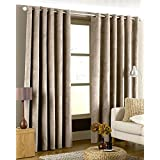 Riva Home Imperial Velvet Woven Lined Eyelet Curtains, Taupe, 66 x 90 Inch