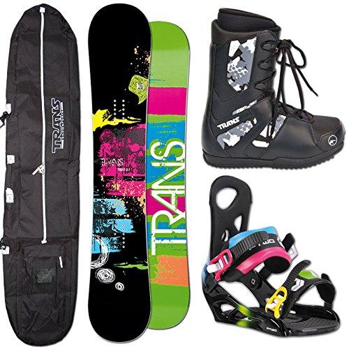 TRANS Snowboard SET PREMIUM 156cm black 2014 + D-Vision multicolor Gr. XL + Boots + Bag
