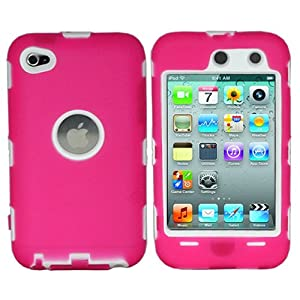 ASleek Hot Pink Silicone Skin / White Hard Hybrid Case Cover for Apple iPod Touch 4th Generation