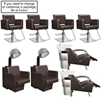 Hot Sale Havana Basics Brown Collection - Four Stations featuring Four (4) Styling Chairs - Brown w/Square Base, Two (2) Stockholm Shampoo Units Brown w/White Bowl and VBK (Black bowl is available) & Two (2) Havana Dryer Chairs - Brown from SalonSmart