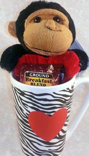 3 Item Thinking Of You Plush Monkey, Latte Mug And Community Coffee Breakfast Blend Bundle