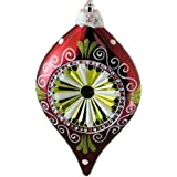 "Queens Of Christmas WL-ORN-FINIAL-RE/GR/WH Finial Ornament, 10"", Red/Green/White"