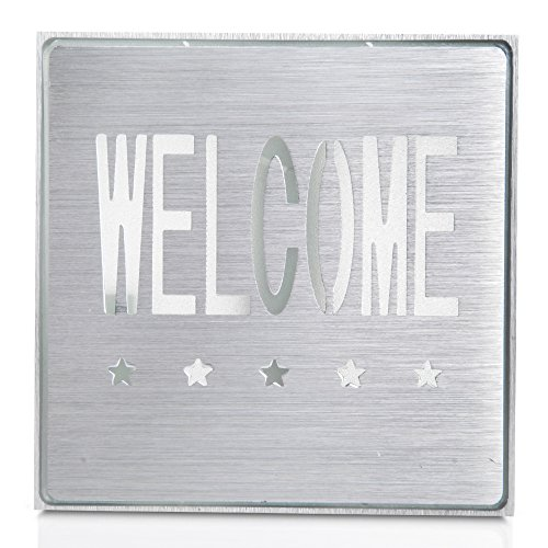 Silver Aluminum Red Led Light Welcome Sign Bar Ktv Club Wall Mount