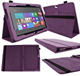 DURAGADGET Executive Purple Faux Leather Folio Case With Built In Stand Custom Designed For The Microsoft Surface 2 10.6 Inch Tablet Hybrid PC (32GB, 64GB)