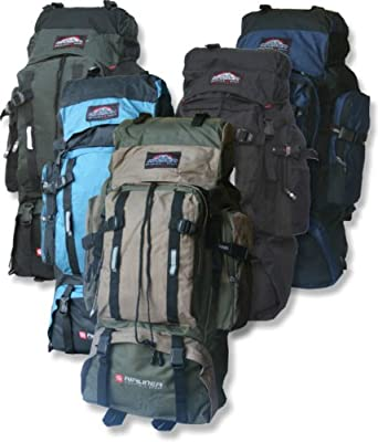 Extra Large 80L Hiking Travel Backpack Rucksack Top and Bottom Loading Khaki Navy Black Blue by Outback