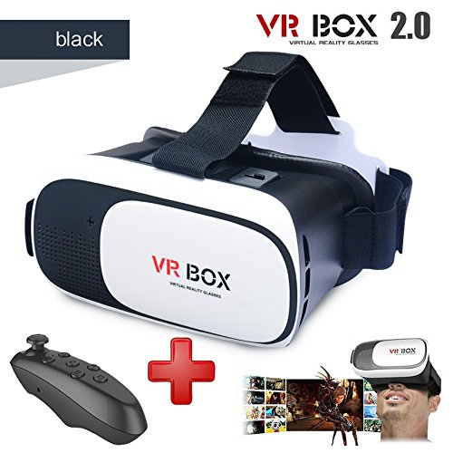 Black Virtual Reality Headset VR BOX 2.0 with bluetooth black remote (3D glasses)
