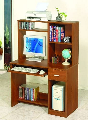 Buy Low Price Comfortable All new item Brown wood finish computer desk with hutch (B0014B7E4E)