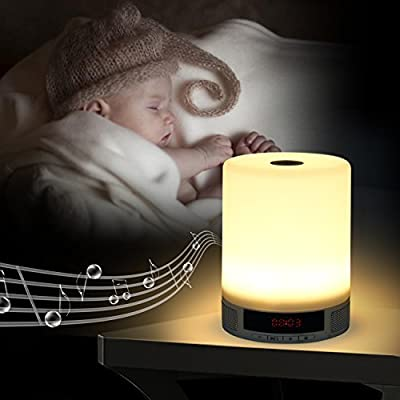 TopTops® LED Night Light Wireless Bluetooth Speaker Outdoor & Indoor Touch Control Lamp Alarm Multifunctional/Support TF card/USB input /Night Reading Light Kids Home Deco Great